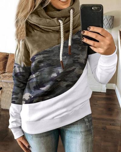 Women Casual Long Sleeve Patchwork Sweatshirt