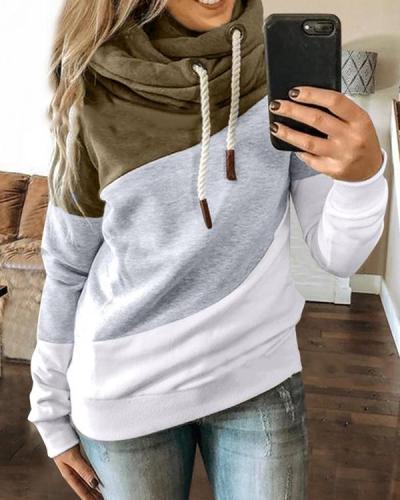 Women Daily Long Sleeve Patchwork Sweatshirt