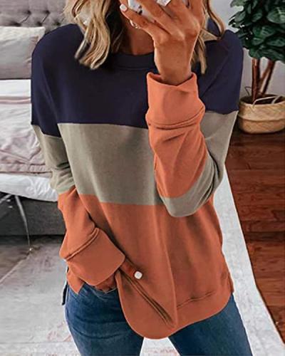 Woman's Striped Contrast Stitching Sweatshirt