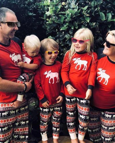 Elk Print Family Matching Christmas Pajamas for Mom