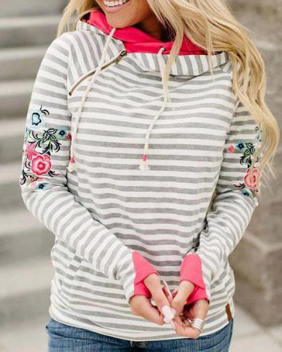 Stripe Floral-print Long Sleeve Cotton-blend Hoodie Sweatshirt