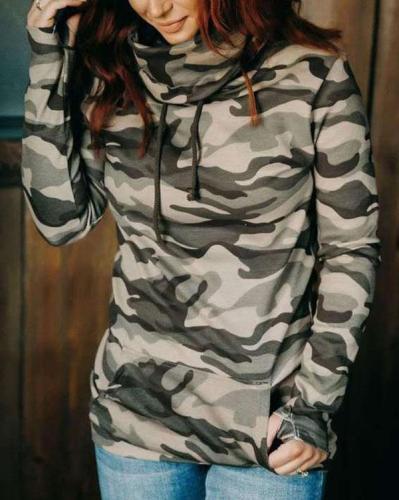 Camouflage Floral-print Long Sleeve Cotton-blend Hoodie Sweatshirt