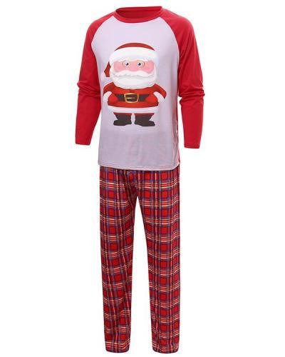 Dad's Cotton Christmas Santa Claus Plaid Parent-Child Loungewear