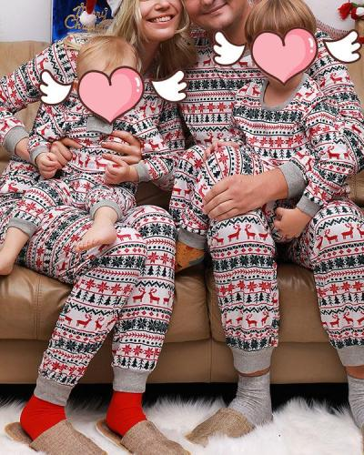 Mom's Stripe Print Parent-Child Family Christmas Loungewear