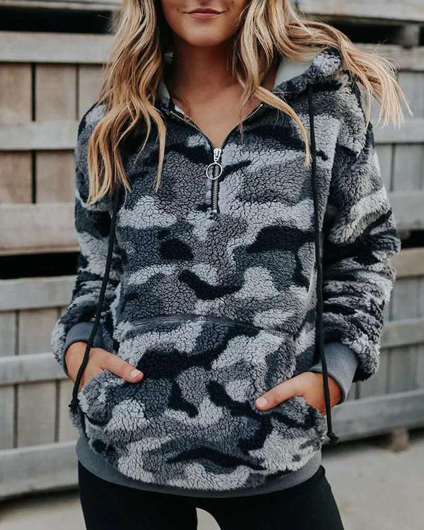 Camouflage Floral-print Long Sleeve Fleece Hoodie Sweatshirt