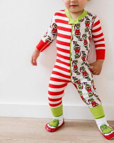 Baby's Christmas Grinch Stripe Parent-Child Loungewear