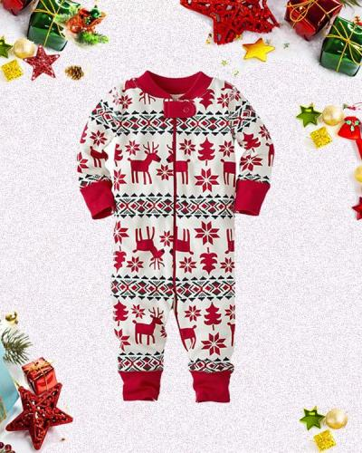Baby's Christmas Elk Print Parent-Child Loungewear