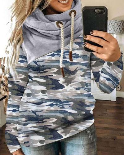 Women Camouflage Floral-print Long Sleeve Cotton-blend Hoodie Sweatshirt