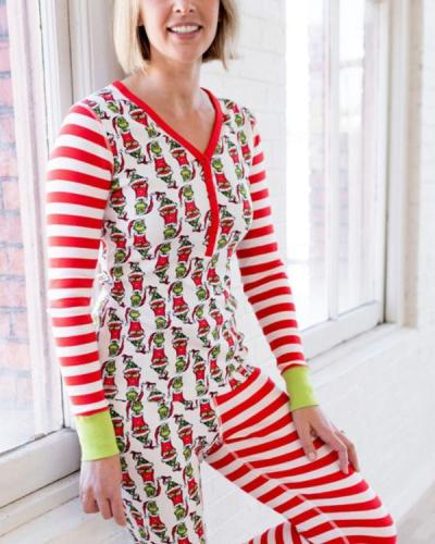 Mom's Christmas Grinch Stripe Parent-Child Loungewear