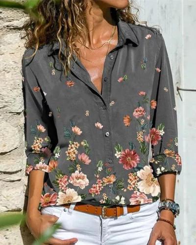 Shawl Collar Long Sleeve Printed Shirts & Tops