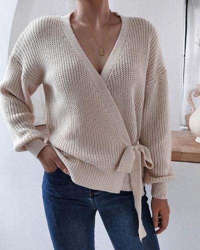 Women's Fashion V-neck Lace up Plain Color Sweater