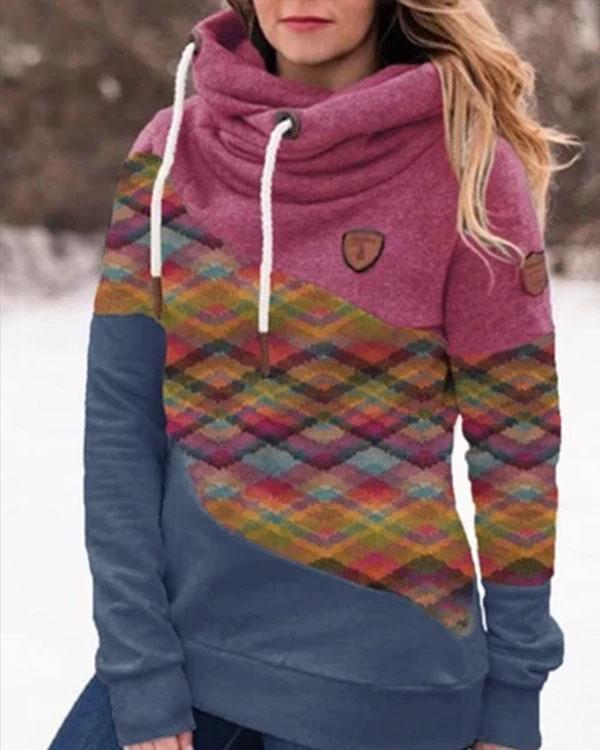 Color-block Cotton-blend Hoodie Sweatshirt