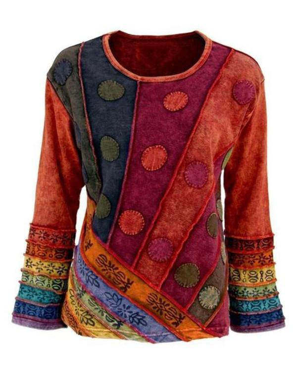 Casual Long Sleeve Round Neck Cotton Plus Size Tops