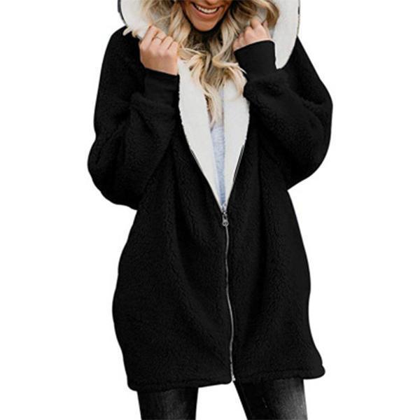 Zipper Cashmere Solid Long Sleeve Hoodie Coats