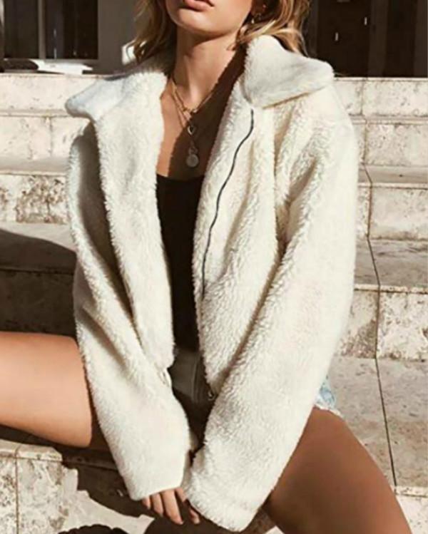 Women's Fashion Long Sleeve Lapel Zip up Faux Shearling Shaggy Oversized Coat Jacket