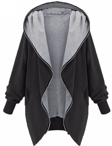Long Sleeve Plain Casual Pockets Plus Size Coat
