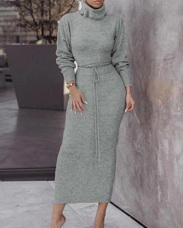 Women's Fashion Solid Turtle Neck Sweater Hip Skirt Set