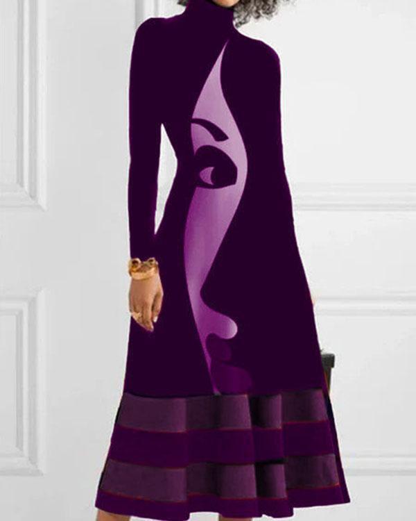 Turtle Neck Long Sleeve Figure Print Dress