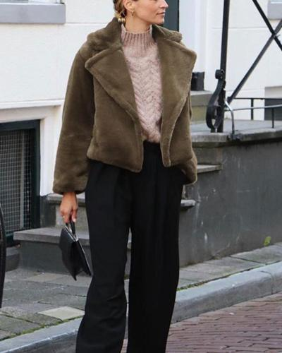 Fur Cardigan Winter Coat Oversized Shirt &Tops With Pocket