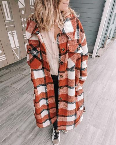 Women Fashion Grid Long Sleeve Overcoat