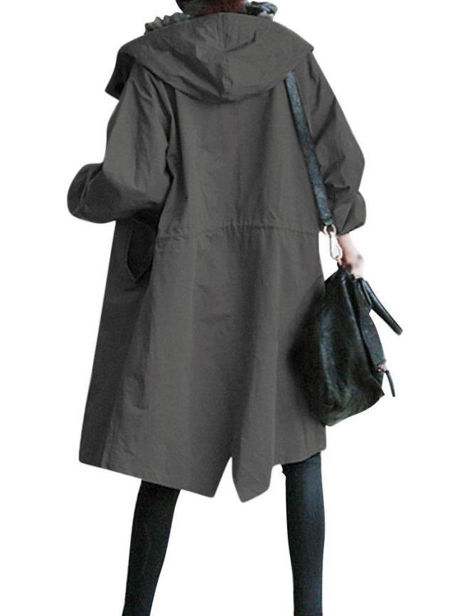Fashion Pure Color Hooded Trench Coats for Women