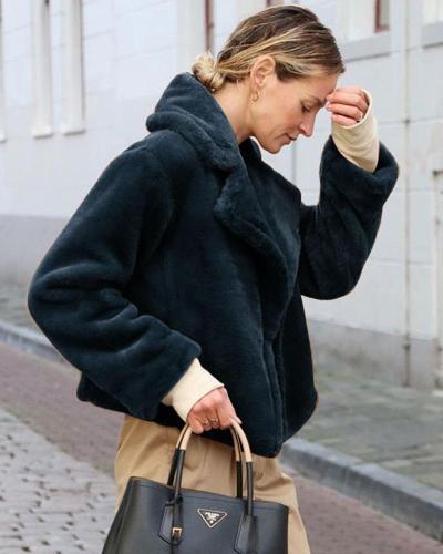 Fur Cardigan Winter Coat Oversized Shirt &Tops With Pocket