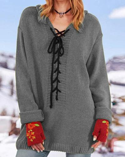 Women Lace Up V-neck Solid Color Sweater