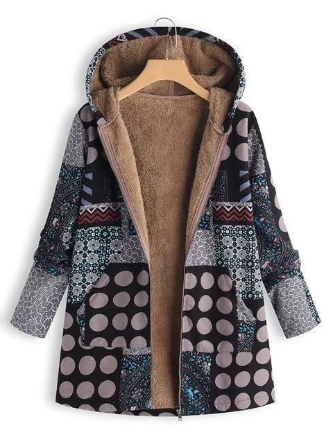 Womens Polka Dot Print Patchwork Hooded Vintage Coats