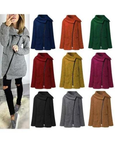 Paneled Solid Cotton Winter Plus Size Zipper Teddy Bear Coat