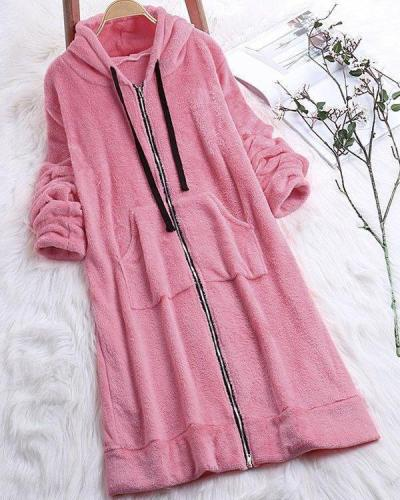 Long Sleeve Zipper Fluffy Faux fur Hoodie Coat