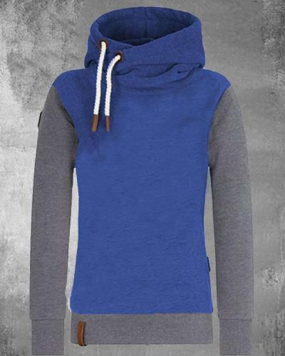 Color Contrast Cotton-blend Hoodie Sweatshirt