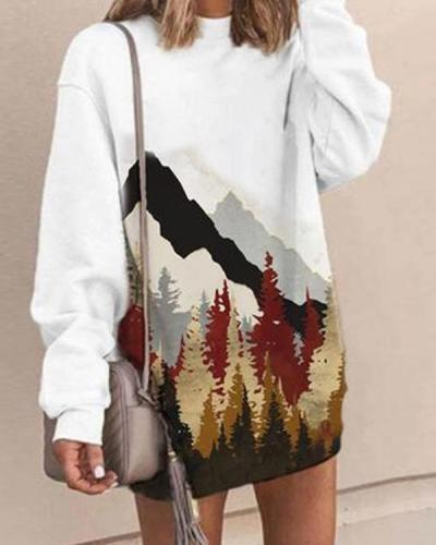 Women Print Daily Long Sleeves Sweatshirt