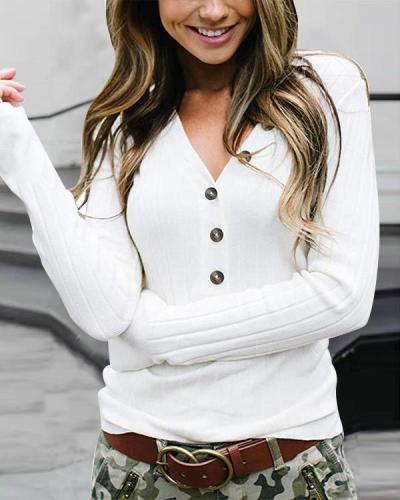 Women's Fashion Warm Ultra Stretchy Button V-neck Sweater(6 Colors)