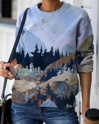 Landscape Print O-neck Long Sleeve Casual Sweatshirt For Women