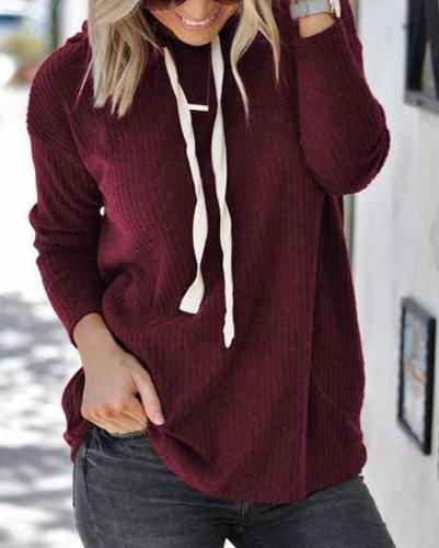 Hooded Plain Long Sleeve Lace Up Hoodies