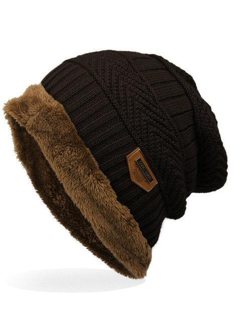 Mens Labeling Knitted Cap Velvet Wool Cap Hats