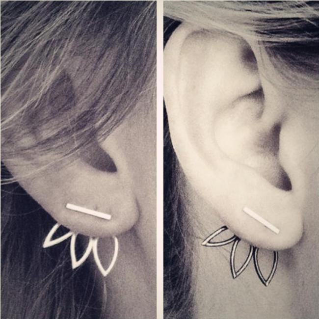 Alloy Double Side Earrings Leaf Flower Elegant Ear Stud Earring Fashoin Accessories