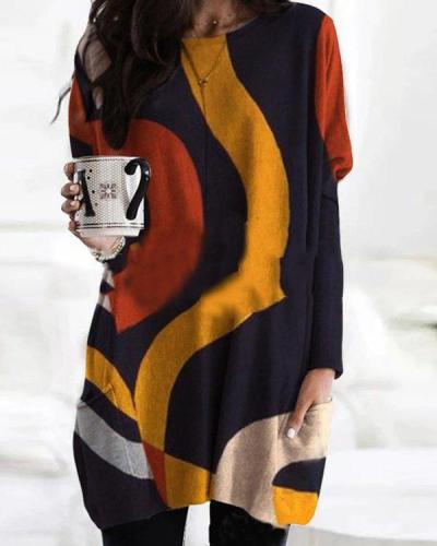 Color Block Print Bat Sleeve Pockets Casual Blouses Tops