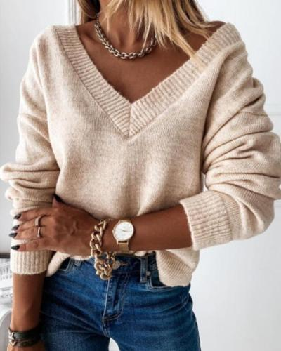Women's Fashion V-neck Solid Color Sweater