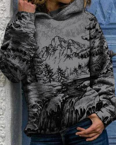 Women Landscape Print Hooded Long Sleeve Casual Hoodie