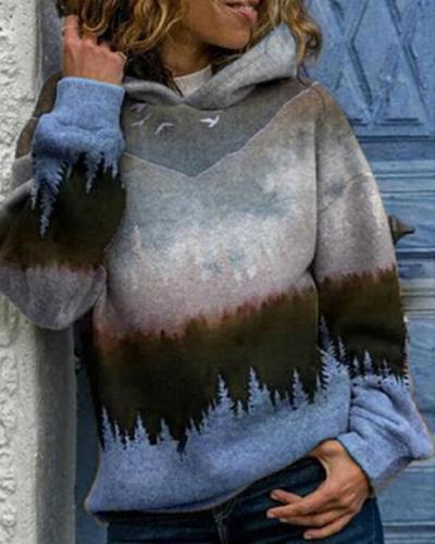 Landscape Print Hooded Long Sleeve Casual Hoodie For Women