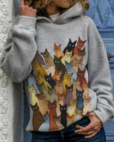 Cartoon Cats Print Long Sleeve Casual Hoodie For Women