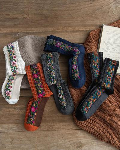 Casual Floral Cotton Tribal Sweet Underwear & Socks