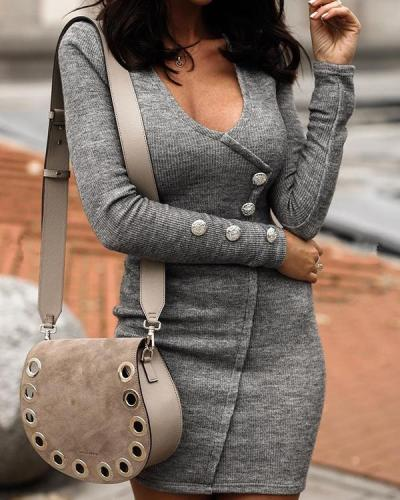 Sexy Solid Pencil Round Neckline Bodycon Dress