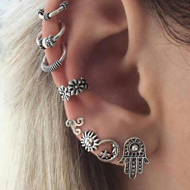 Bohemian Retro Sun Moon 8 Piece Earrings