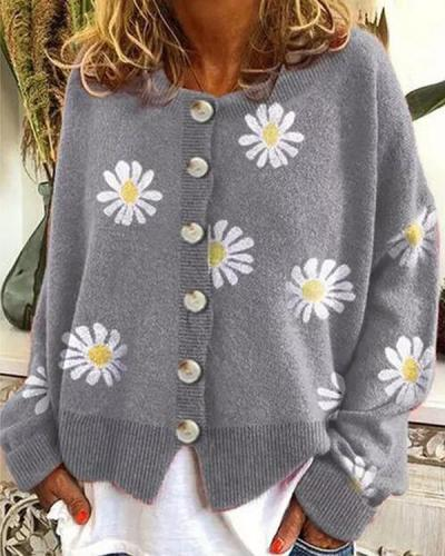 Long Sleeve Cotton-Blend Shift Daisy Sweater