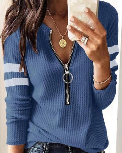 Women's Casual Stripe Zipper Waffle Top