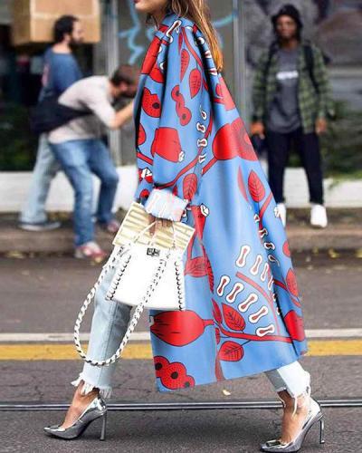 Women Fashion Print Long Coat
