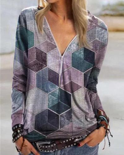 Color Block Casual V-Neckline Long Sleeve Blouses