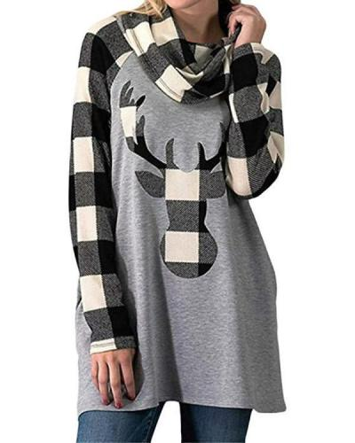 Christmas Fall Winter Plaid Long Sleeve Deer Head Print Blouse T-Shirt Tops